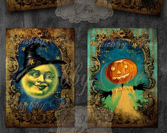 Halloween digital download - Digital Collage Sheet, Greeting Cards, Scrapbook,Journaling, Halloween digital images