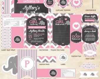 Elephant Baby Shower Decor Package, Elephant Decor Package, Elephant, Pink, Gray, Chevron, Balloon | Printable