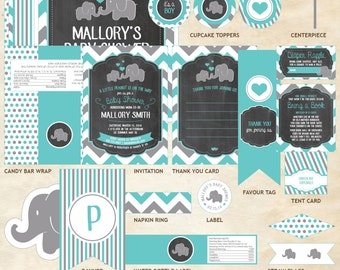 Elephant Baby Shower Package, Elephant Package, Elephant, Teal, Gray, Chevron, Hearts   Printable