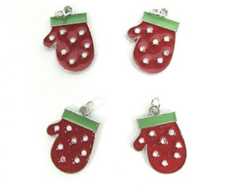 Winter Red & Green Mitten Charms ~ Christmas Charms ~ Holiday Charms | Jewelry Charms | Bracelet Charms | Necklace Charms