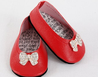Handmade to fit like American Girl Doll Shoes, AG Doll Shoes, 18 Inch Doll Shoes - Modern Red BALLET FLATS with Rhinestone Bow Ties