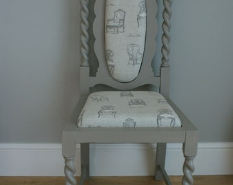 Antique wooden occasional chair painted in grey and finished with 'vintage chairs' fabric