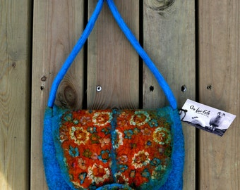 Turquoise Handbagbag with Orange Silk  Shoulder Bag  Nuno Felted  Merino Wool  Gift Idea