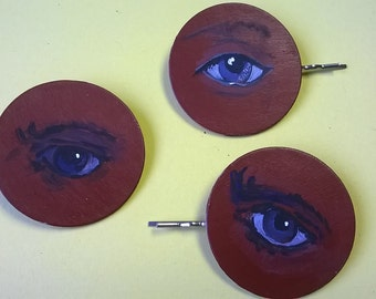 hairgrips with eyes, for the back of your head! hand painted, original