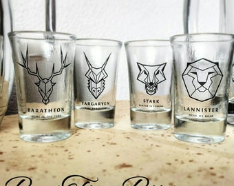 Game of Thrones Animal Head Shot Glasses | Baratheon | Targaryen | Stark | Lannister | Gifts for him | Gifts for her