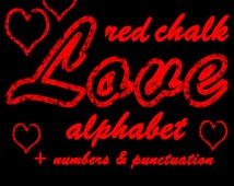Red chalk alphabet digital clipart, red chalkboard font with large and small letters, numbers and punctuation; for commercial use;