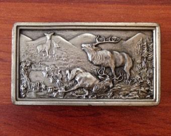 70's Bergamot Dead Elk Belt Buckle - 1977 - Made in USA - F-144