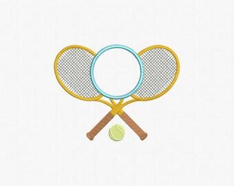 Tennis Frame Monogram Applique Machine Embroidery Design - 1 Size