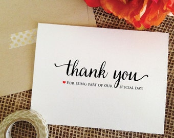 thank you for being part of our special day card