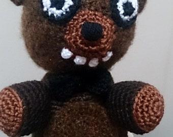 Handmade Crocheted Amigurumi Soft Toy. Freddy Fazbear Bear Plushie