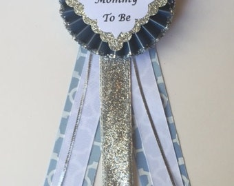 Baby Shower Corsage..Baby Shower Pin..Boy Baby Shower..Mom