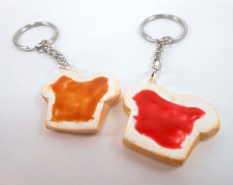 Peanut butter and Jelly Best friend keychain gift for husband boyfriend strawberry pbj we go together like peanut butter to my jelly