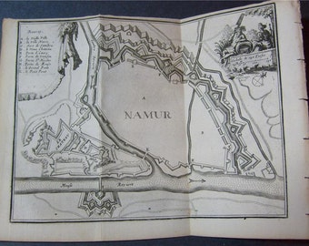 1720 Map of Namur, Belgium Sambre & Meuse Rivers, Houses and Villas of interest, Fortifications. Copper-Plate Engraving by Harrewyn.