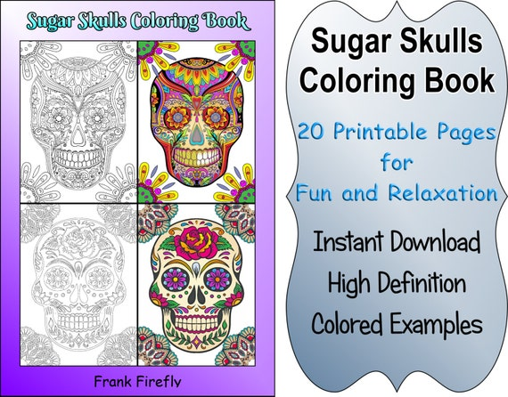 Coloring Pages With Examples. Sugar Skulls Coloring Book  24 Printable Pages Outlines Color Examples Instant Download