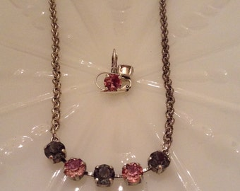 Gray and Pink Necklace and Earring set