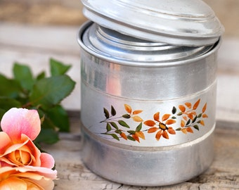 Set of 5 Vintage French Nesting Aluminum Canister -  French Kitchen Tins - Shabby Chic / Country Decor - Free Shipping Within the USA