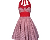 Red White Gingham Dress Rockabilly Dress Pin Up Dress Checkered Dress 50s 60s Retro Goth Dress Red Christmas Party Dress Steampunk Clothing