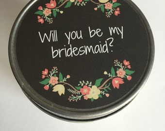 Bridesmaid Gift// Will you be my bridesmaid// Soy Candle Favors// Rustic// Jelly Jar // Wedding Favor // custom labels
