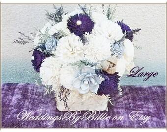 Wedding Table Centerpiece, Plum Sola Flowers, Custom Colors Available, Birch Wedding Centerpiece, Shabby Chic Country Rustic Centerpiece