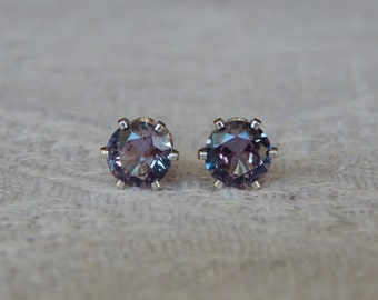Alexandrite 5mm Studs, Alexandrite Sterling Silver Stud Earrings, Color Change Alexandrite Posts, June Birthstone, Lab Created Alexandrite