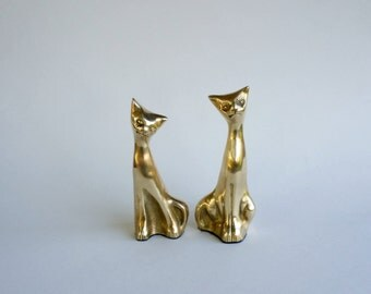 Brass Cats Long Neck Cats Set of 2 Brass Home Decor Mid Century 1960s 1970s