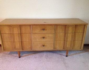 Mid-Century Stanley vintage modern triple credenza dresser