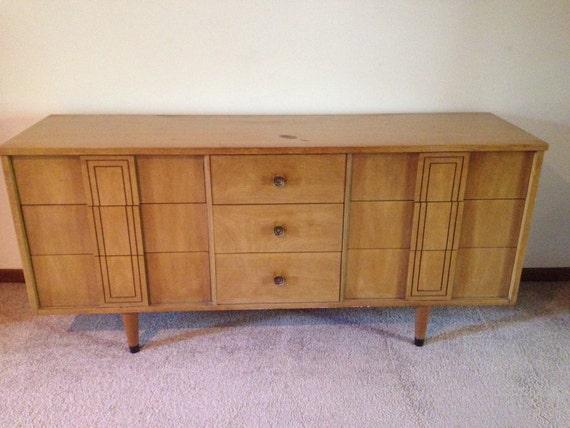 Mid Century Stanley Vintage Modern Triple Credenza Dresser