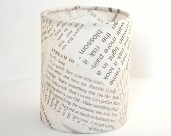 Lantern Night Light in Newspaper Fabric - Safe Battery Operated Tea Light