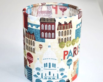 Lantern Night Light in Paris Fabric - Safe Battery Operated Tea Light