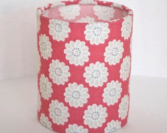 Lantern Night Light in Raspberry Daisy Fabric - Safe Battery Operated Tea Light