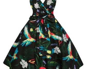 Sarah-P parrot tropical vintage 50's retro rockabilly swing dress