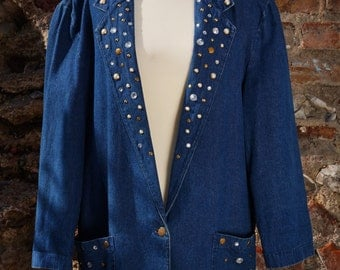 Bejeweled Denim Blazer