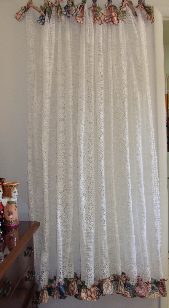 Vintage Crochet Shower Curtain/Shabby Chic/Boho by BohoBagsNThings
