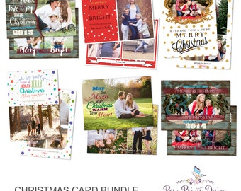 Christmas Card Bundle of Photoshop Templates - 5x7 Digital Photography Photoshop Files - Templates for Photographers - CCB04
