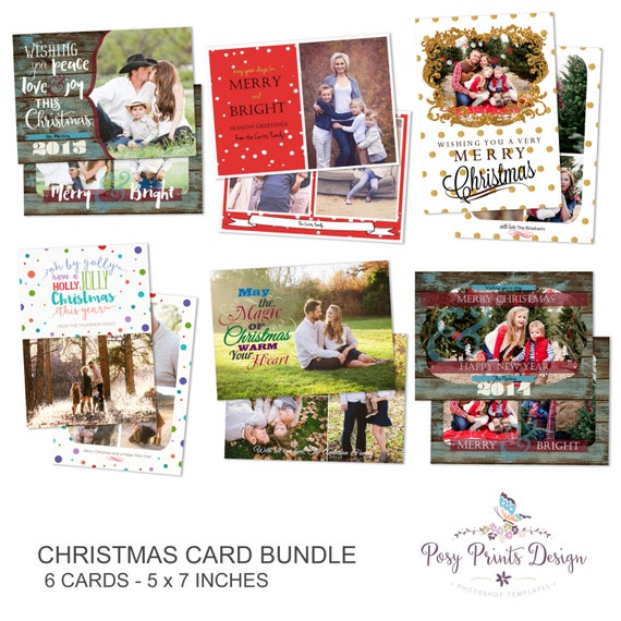 christmas card bundle of photoshop templates 5x7 digital