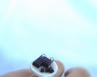 Free shipping.Chocolate plate ring,miniature food jewelry,chocolate bar ring,adjustable ring,miniature food.