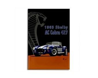 "Magnet: 1965 Shelby AC Cobra 427 roadster original illustration, 2 1/8"" x 3 1/8"""