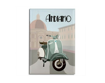 "Magnet: Vintage Vespa in Italy original illustration, 2 1/8"" x 3 1/8"""