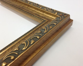 gold ornate picture frame 3x5 4x6 5x7 8x10 11x14 16x20 18x24 24x36 custom sizes gold scoop with beaded edge gold picture frame