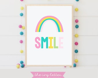 Smile Print, Rainbow Wall Art, Colorful Art for Children's Decor, Nursery Art Girls Room, Printable Digital Download Colorful Print