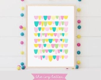 Pastel Artwork Scallop Design, Digital Nursery Art Print, Download Printable Wall Art, Girls Room Inspiration Quote