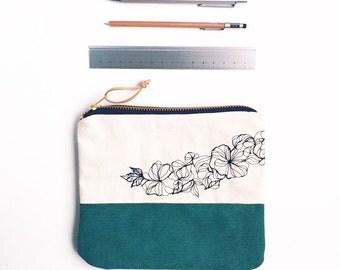 Medium zipper pouch, flower embroidery pattern, green zipper purse, modern pencil case