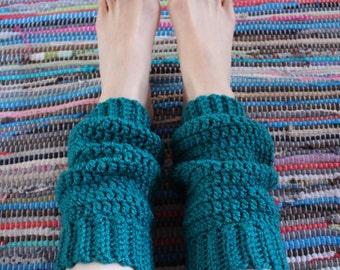 crochet leg warmers // teal // UK