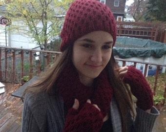 Hand knitted Beanie hat,fingerless gloves & circle scarf,urban scarf,winter hat, gloves, fingerless