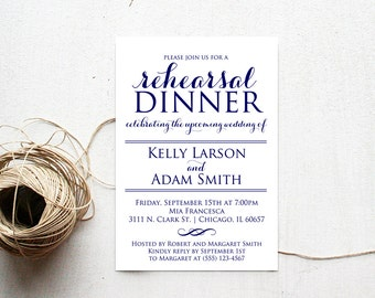 Rehearsal Dinner Invitation, Rehearsal Dinner, Editable Invitation Template, Navy Blue, Rehearsal Dinner Invitation, Rehearsal Dinner Invite