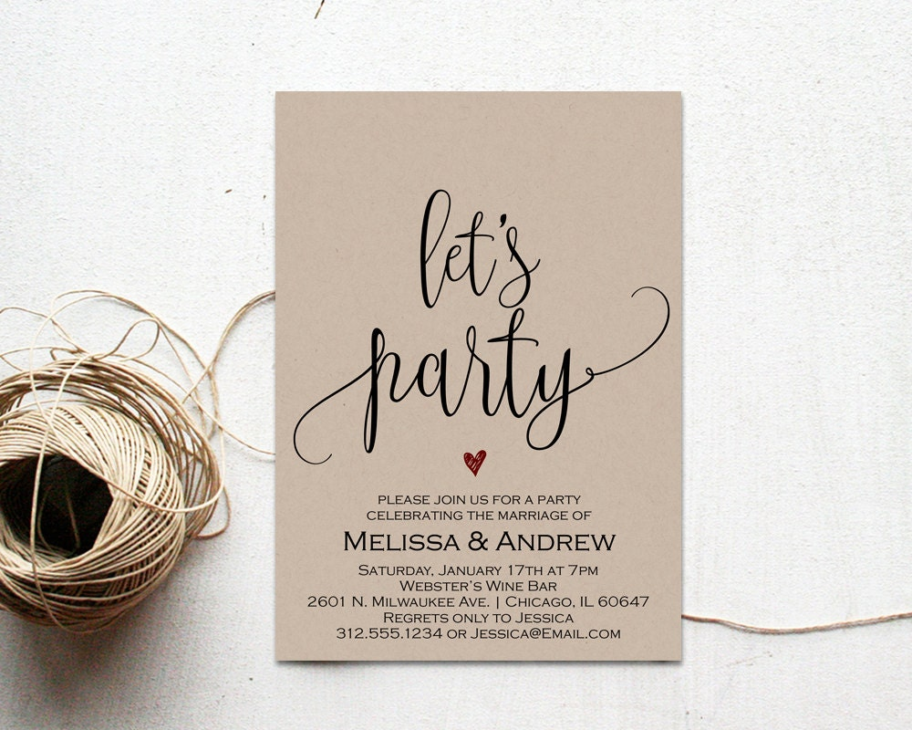 After The Wedding Party Invitations: Elopement Party Invitation Elopement Party Editable Wedding