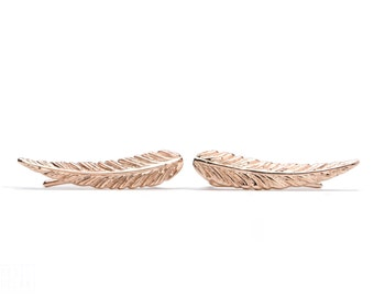 Rose Gold Plated Ear Cuff Feather Ear Climber Pin Earrings Boho Jewelry - FES018 T2