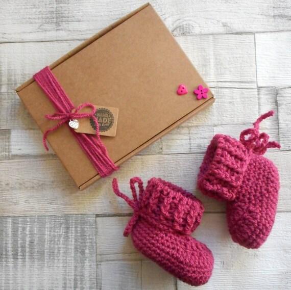 baby booties shoes handmade girls shower knit crochet gift pink