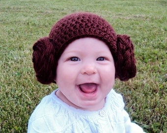 Princess Leia Baby Hat, Crocheted Princess Leia Hat, Newborn Princess Leia Hat