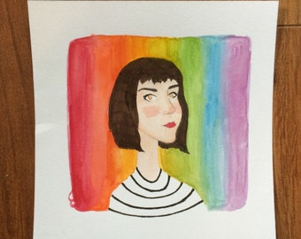 Watercolor 5 x 5 Custom Single Portrait